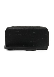 Armani Exchange embossed logo zip-around wallet