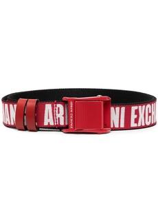 Armani Exchange embroidered logo belt