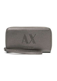 Armani Exchange grained studded-logo wallet