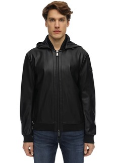 Armani Exchange Hooded Faux Leather Jacket