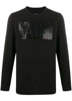 Armani Exchange logo embroidered long sleeved top