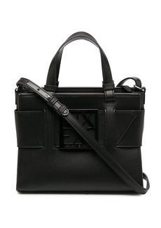 Armani Exchange logo plaque tote bag