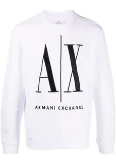 Armani Exchange logo print crew neck sweatshirt