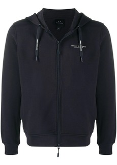 Armani Exchange logo print zipped hoodie