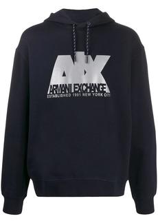 Armani Exchange logo printed hoodie