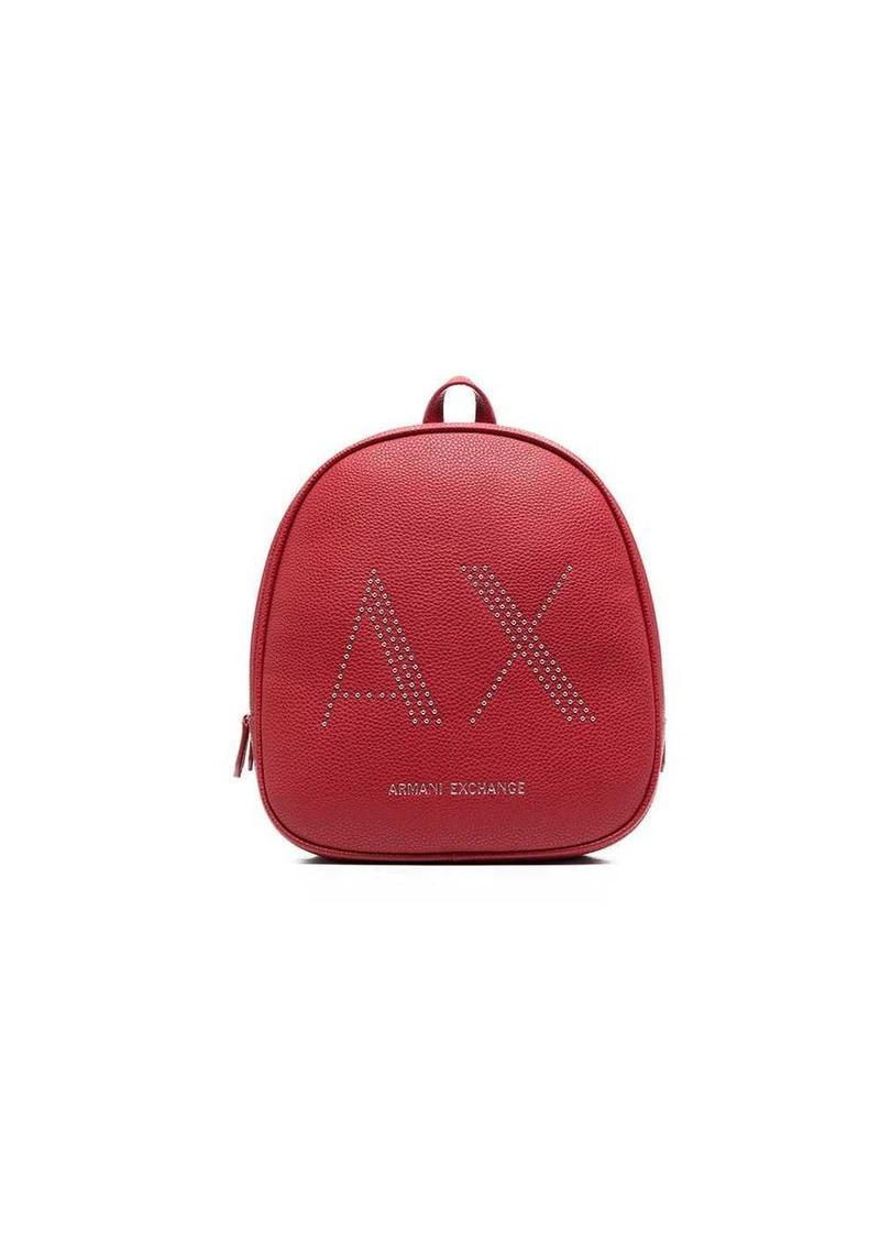 Armani Exchange logo studded backpack