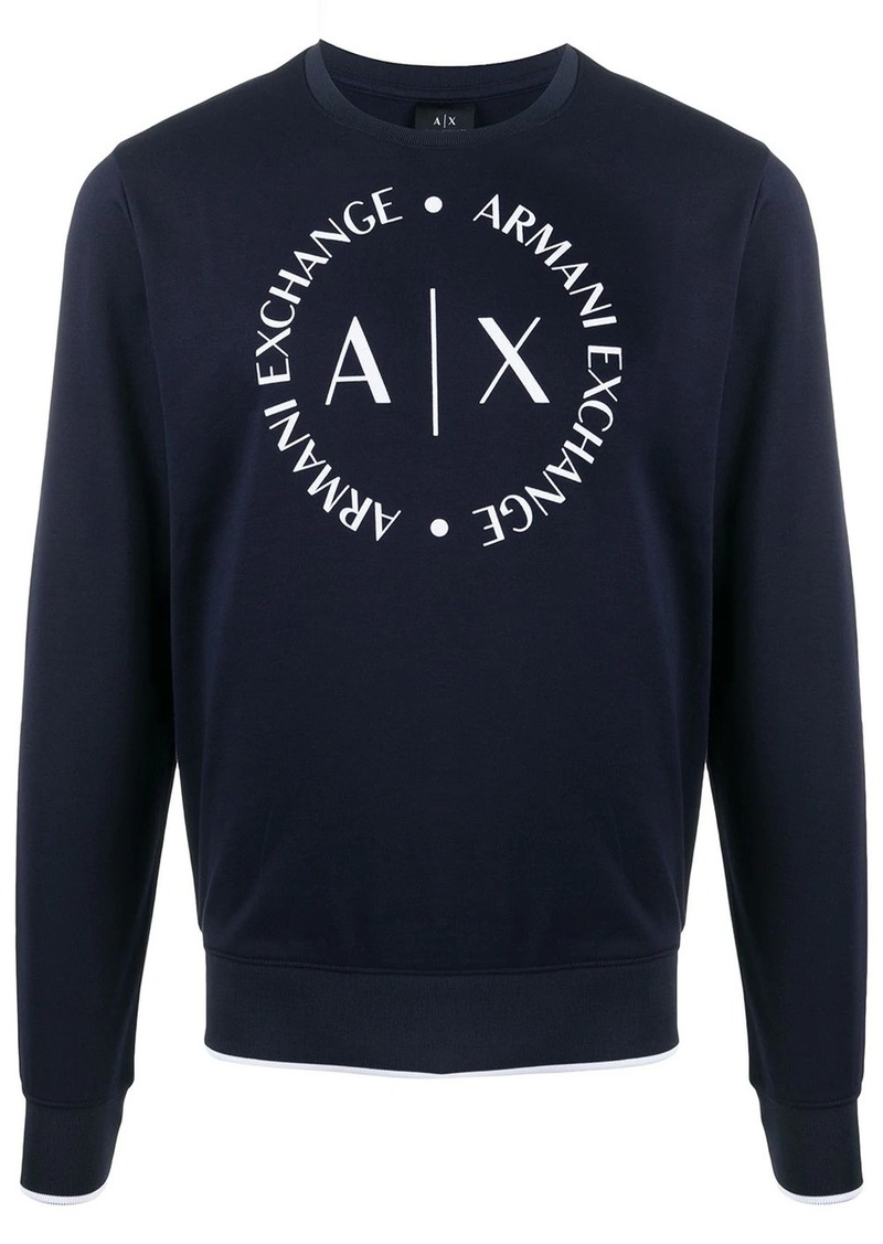 Armani Exchange printed logo crest sweatshirt