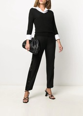 Armani Exchange sequin-stripe tapered trousers