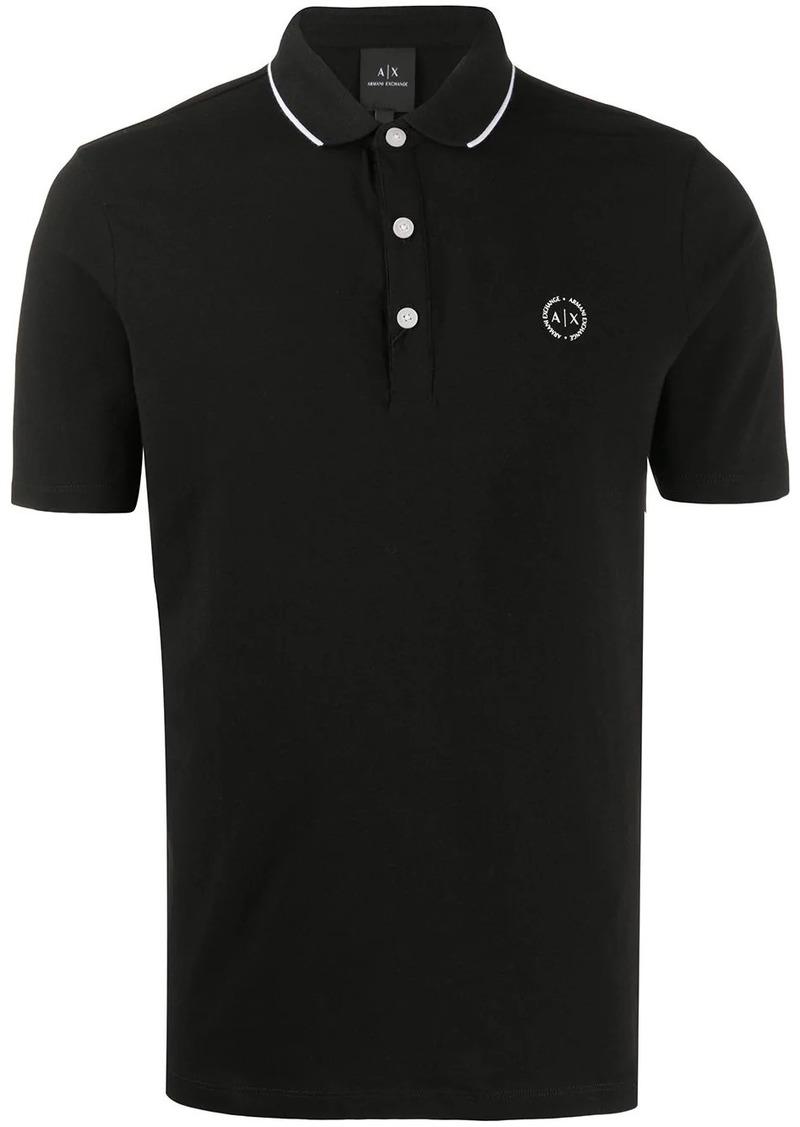 Armani Exchange stripe collar cotton blend polo shirt