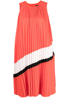 Armani Exchange stripe-detail pleated midi dress