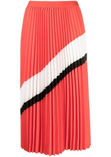 Armani Exchange stripe-detail pleated midi skirt