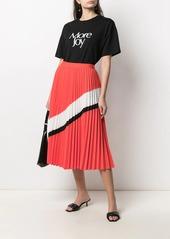 Armani Exchange stripe-detail pleated midi skirt