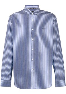 Armani Exchange striped logo embroidered shirt