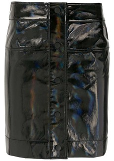 Armani Exchange wet-look mini skirt