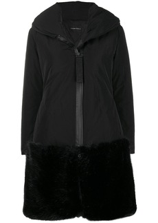 Armani faux fur hem shell coat