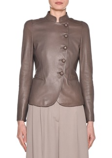 Armani Fitted Asymmetric Button-Front Leather Jacket