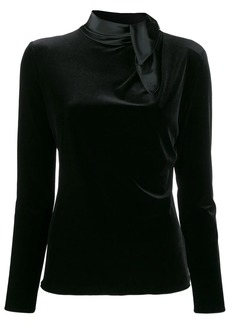 Armani fitted draped-neck top