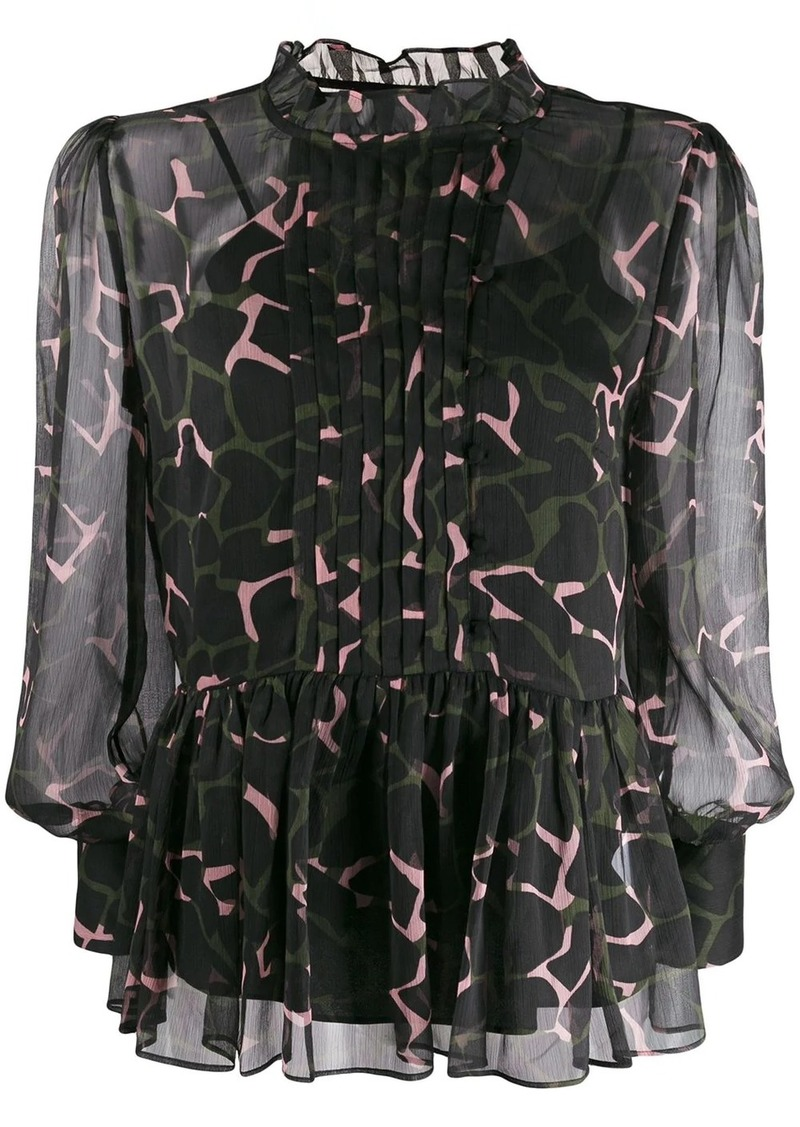 Armani floaty camouflage-print blouse