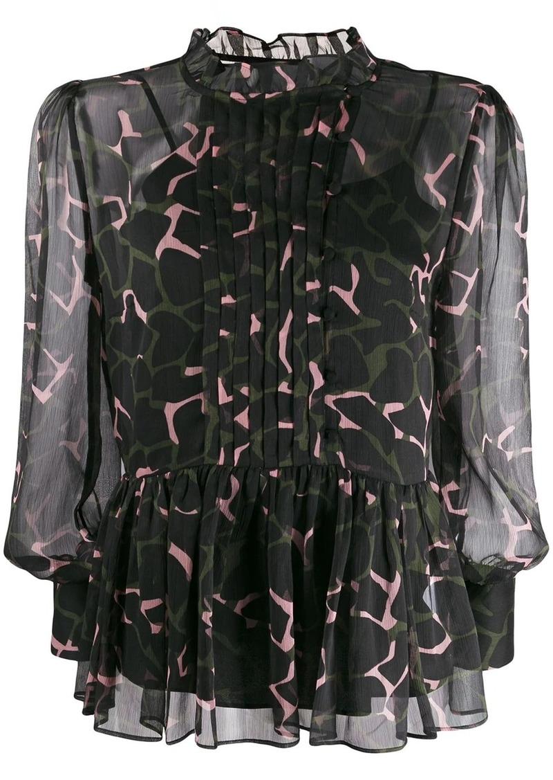 Armani floaty camouflage-print blouse