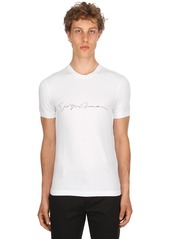 Armani Flocked Signature Stretch Jersey T-shirt