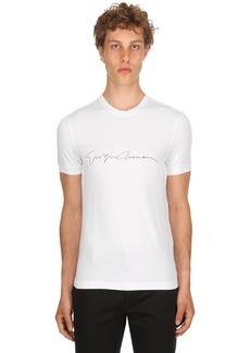 Armani Flocked Signature Stretch Jersey T-shirt