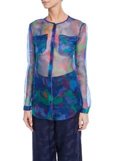 Armani Floral Print Semisheer Chiffon Button-Front Blouse