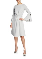Armani Flounce-Sleeve Silk Cady A-Line Dress