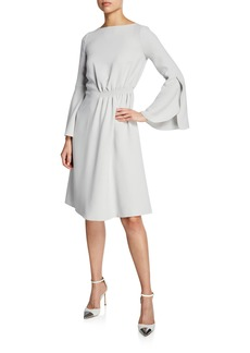 Armani Flounce-Sleeve Silk Cady A-Line Dress