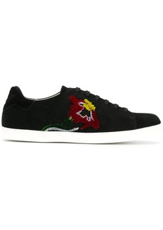 Armani flower embroidered sneakers