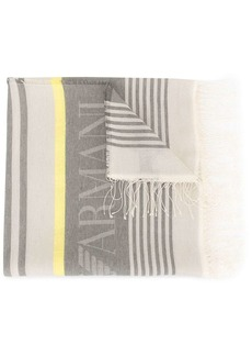 Armani frayed-edged logo scarf