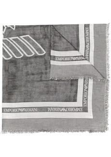 Armani frayed logo scarf