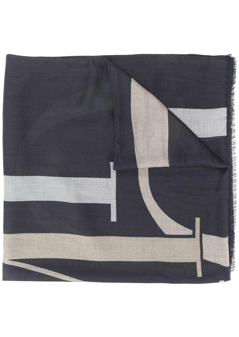 Armani fringed logo scarf