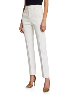 Armani Gabardine Narrow-Leg Ankle Pants w/ Slit Cuffs