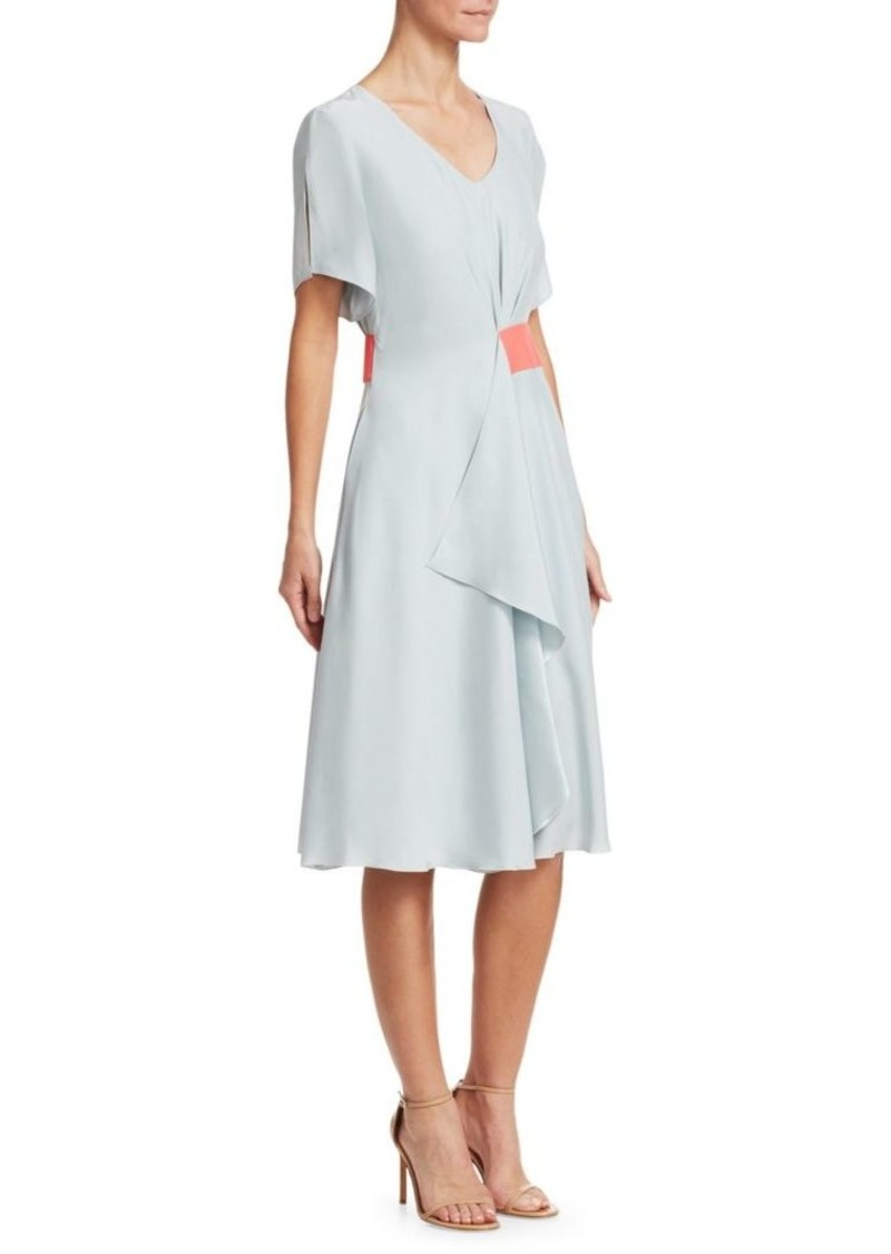 Armani Gathered Silk A-Line Dress