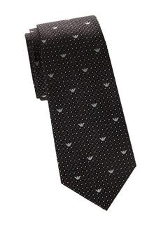 Armani Geometric Logo Print Silk Tie