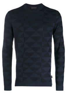 Armani geometric long-sleeve jumper