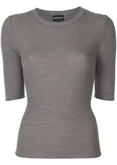 Armani geometric-texture knitted top