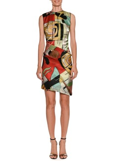 Armani Abstract-Print High-Neck Sleeveless Ruched Dress