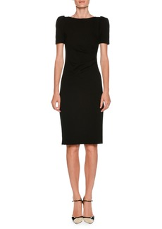 Armani Bateau-Neck Short-Sleeve Sheath Dress w/ Ruched Side