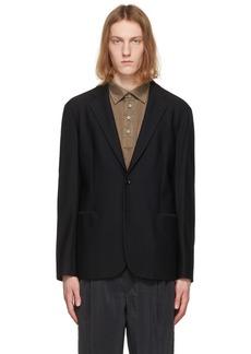 Giorgio Armani Black Warp Knitted Blazer