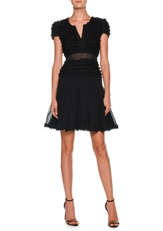 Armani Cap-Sleeve Ruffled Georgette Short Cocktail Dress