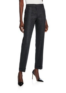 Giorgio Armani Cashmere-Wool Zip-Front Pants