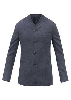 Giorgio Armani Collarless wool and cashmere-blend hopsack blazer