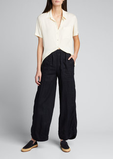 Giorgio Armani Crinkled Cotton Elastic-Waist Beach Pants