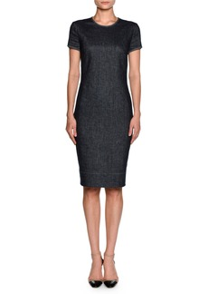Armani Denim Short-Sleeve Crewneck Sheath Dress