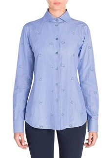 Armani Dog Motif Button-Front Shirt