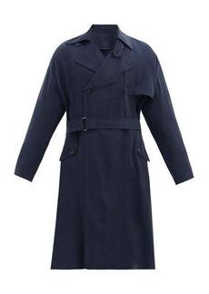 Giorgio Armani Double-breasted basketweave crepe trench coat