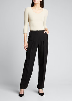 Giorgio Armani Drop-Pleated Pants