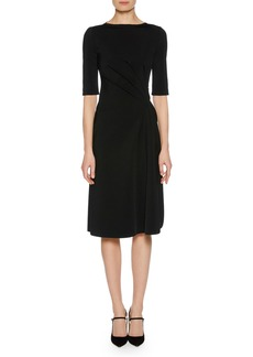 Giorgio Armani Elbow-Sleeve Ruched Jersey Dress