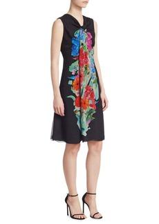 Armani Floral Print Silk Georgette Drape Front A-Line Dress